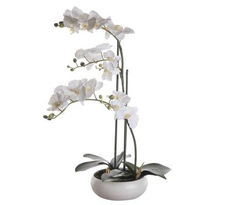 Orchidée artificielle 2 tiges blanche au toucher réel dans son pot céramique rond H 60cm