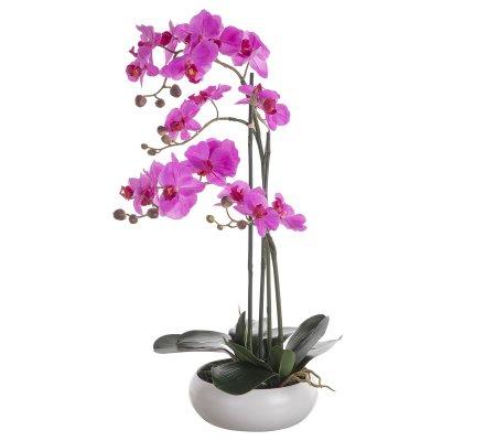 Orchidée artificielle 2 tiges fuchsia au toucher réel dans son pot céramique rond H 60cm