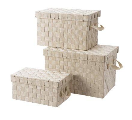 Lot de 3 boîtes de rangement rectangulaires intissés beige