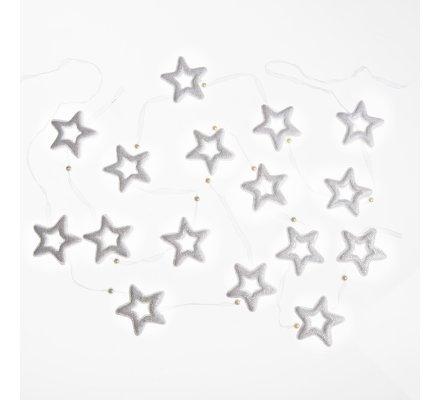 Lot de 2 guirlandes avec 8 étoiles et perles 190cm