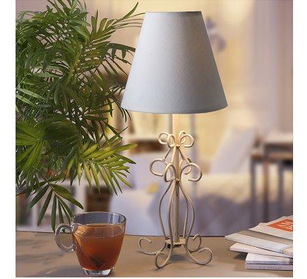 Lampe de chevet fil métal abat-jour beige 16x16x38cm
