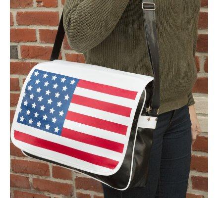 Sac bandoulière réglable motif drapeau Américain poche intérieure et extérieure à zip