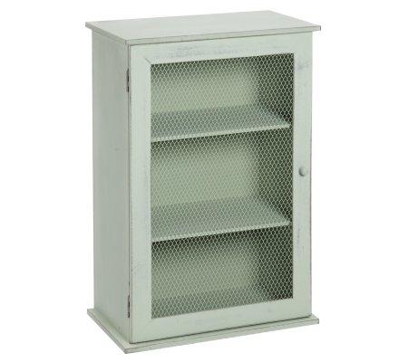 Petite étagère 3 niveaux style campagne en bois vert clair porte facon grillage en métal H50cm