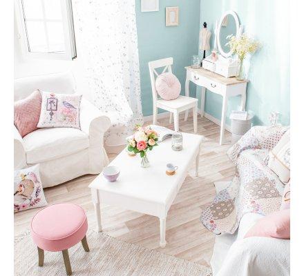 Table basse Mila en bois blanc avec un tiroir marque Atmosphéra 110x60x45cm