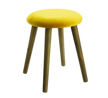 Tabouret velours moutarde et pied en pin H 40cm