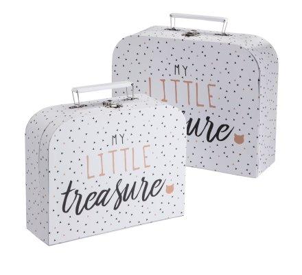 Lot de 2 valisettes de rangement déco blanches avec motifs imprimés noirs