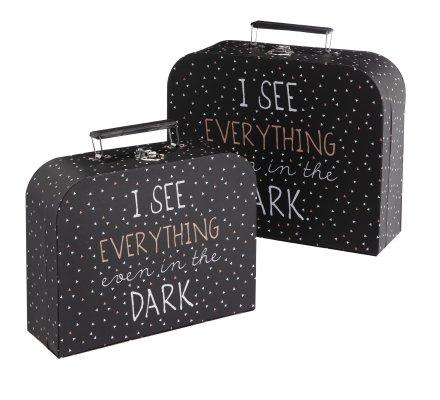 Lot de 2 valisettes de rangement déco noires avec motifs imprimés blancs