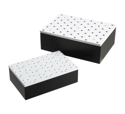 Lot de 2 boites de rangement en bois motifs imprimés chats noirs et blancs