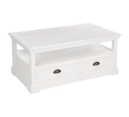 Table basse en bois blanc, grand tiroir et niche de rangement marque Atmosphéra 100x65x45cm