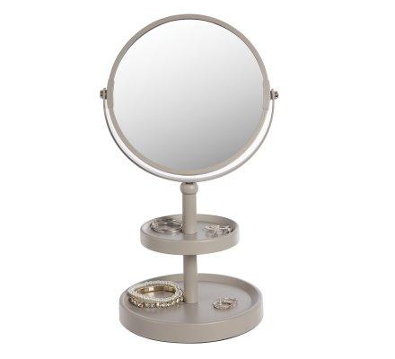 Miroir sur pied double face avec 2 plateaux en métal coloris taupe
