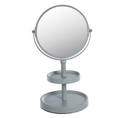 Miroir sur pied double face avec 2 plateaux en métal coloris bleu