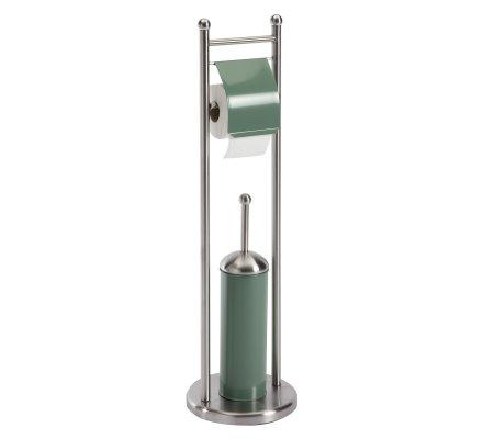 Porte papier toilette dérouleur en inox avec brosse WC kaki H77cm