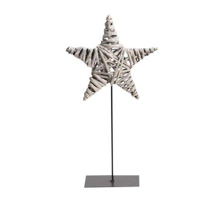 Etoile déco nature en osier sur pied métal à poser 37,5cm