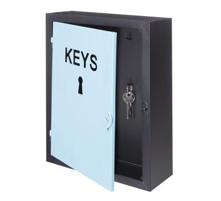 Boite à clés en métal bicolore bleu et noir 8 crochets H30,5cm