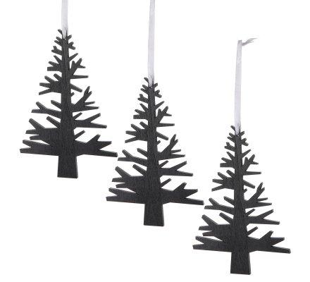 Lot de 3 sujets de Noël, petit sapin en bois noir décoration à accrocher