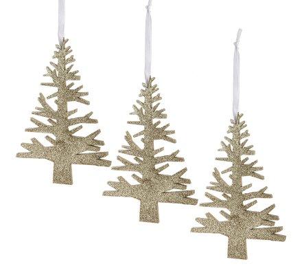 Lot de 3 sujets de Noël, petit sapin en bois doré à paillette décoration à accrocher