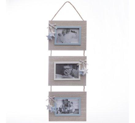 3 cadres suspension bois beige et contour photo bleu avec étoiles 63x20cm