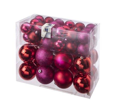 Lot de 52 boules de Noël, décoration sapin 2 tailles coloris rouge et  rose