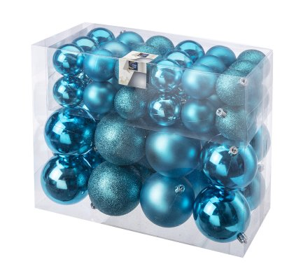 Lot de 52 boules de Noël, décoration sapin 2 tailles coloris bleu