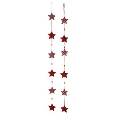 Lot de 2 guirlandes étoiles et perles en tissu rouge et blanc à suspendre 100cm