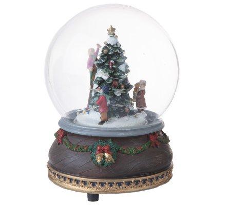 Boule lumineuse, scène de Noël musical sapin 17x11,5cm