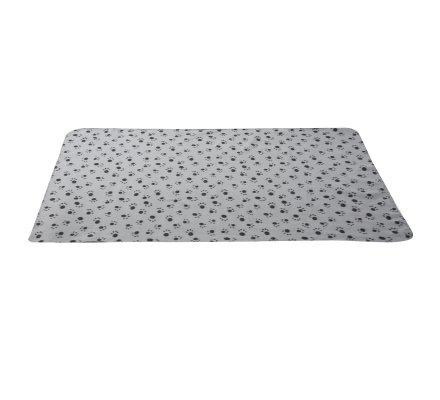 Plaid polaire pour animaux gris avec motifs pattes 150x100cm