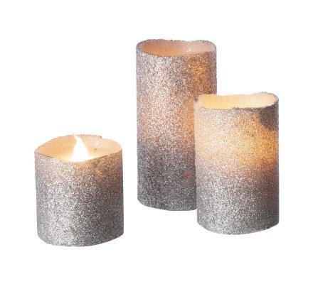 Lot de 3 bougies à Led couleur changeante en cire argentée avec télécommande contrôle à distance