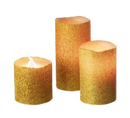 Lot de 3 bougies à Led couleur changeante en cire dorée avec télécommande contrôle à distance