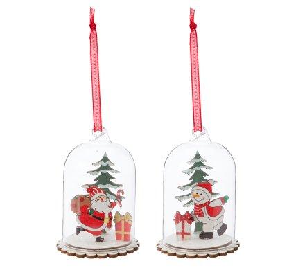 Lot de 2 sujets de Noël sous cloche à accrocher H10cm