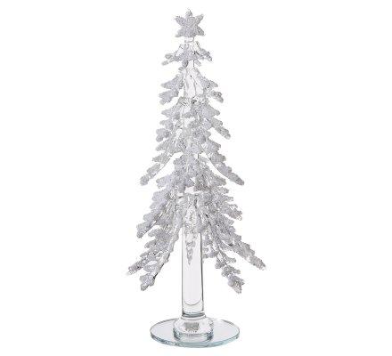 Sapin miniature décoration de Noël en verre transparent avec paillettes H22cm