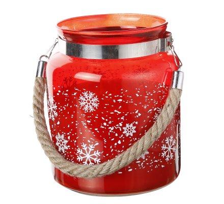 Photophore décoration de Noël avec bougie senteur cannelle et anse en corde 13x17cm