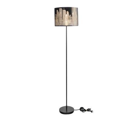 Lampadaire abat-jour métal thème New York coloris noir H160cm