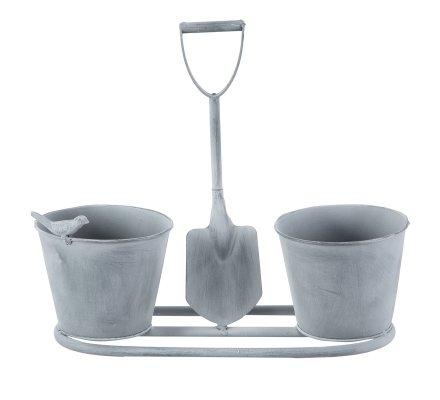 Cache-pot double en métal avec déco pelle et oiseau 35x13x30cm