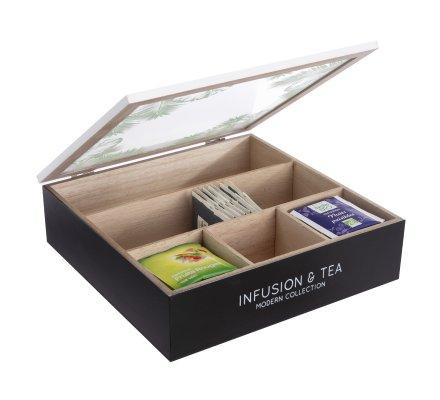 Boite à thé en bois motif tropical 5 compartiments