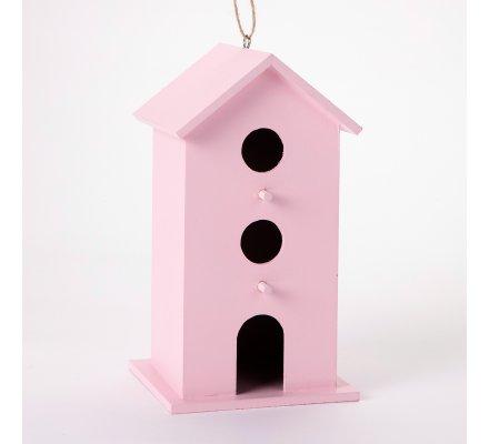 Cabane, nichoir à oiseaux décorative en bois coloris rose 11x10x19cm