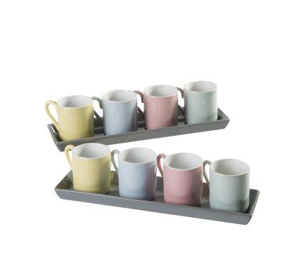 Lot de 8 tasses à café 4 coloris avec 2 plateaux de service gris