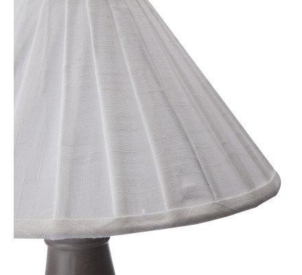 Lampe à poser coloris taupe avec abat-jour plissé blanc H 56cm