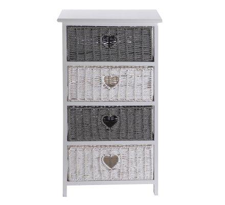 Meuble commode en bois 4 tiroirs coeur façon osier gris et blanc 73x40x29cm