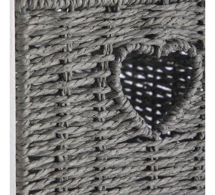 Meuble de rangement colonne en bois 4 tiroirs coeur façon osier 81x32x26cm