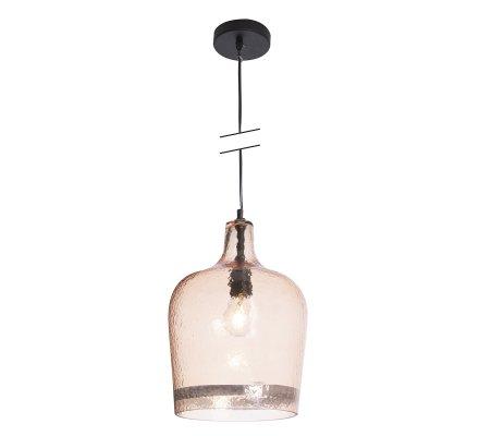 Luminaire suspension en verre et métal coloris cuivre D 23cm Atmosphéra