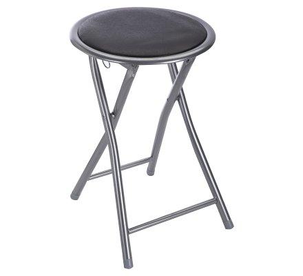 Tabouret pliant assise ronde coloris noir