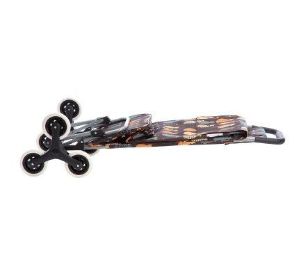 Chariot de course, poussette de marché 6 roues coloris marron avec motif chats 43L