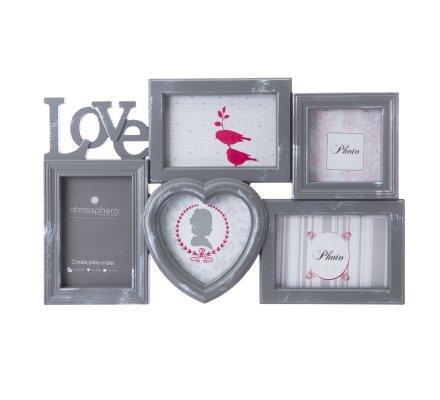 Pêle-mêle 5 photos Love avec coeur coloris gris 46x28cm
