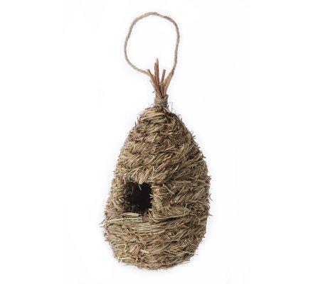 Cabane à oiseaux, nichoir en paille tressée avec corde à suspendre