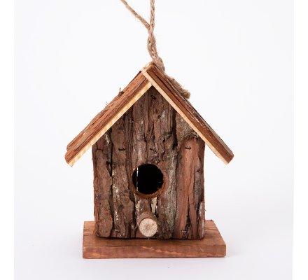Cabane à oiseaux, nichoir en bois forme maison avec perchoir 8x14x16cm