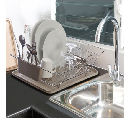 Egouttoir à vaisselle en inox et plateau plastique couleur taupe