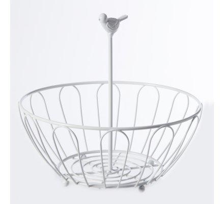 Panier, corbeille à fruit ronde en métal blanc avec déco oiseau