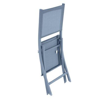 Lot de 4 chaises de jardin pliantes en aluminium bleu orage Hespéride