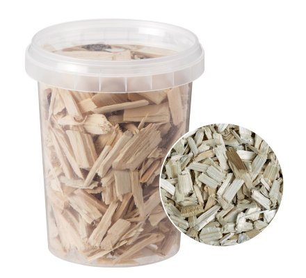 Eclats de bois décoratifs coloris naturel de 10 à 20 mm, seau de 120gr