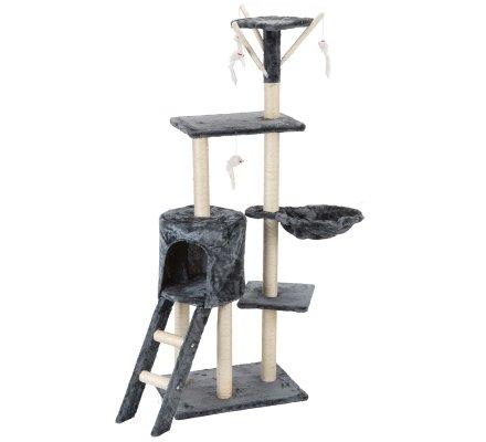 Arbre à chat géant noir 4 étages avec niche et jouets H138cm